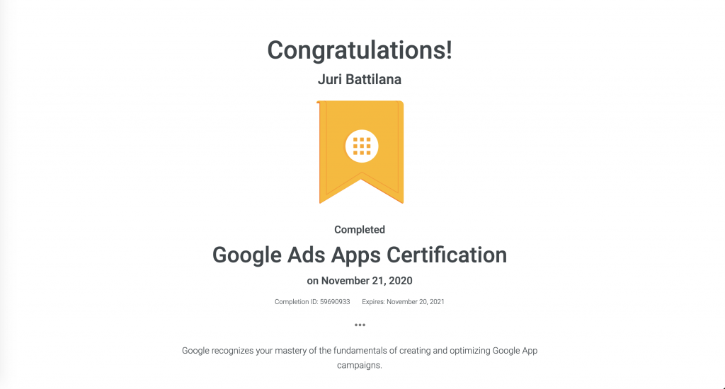 Google Ads Apps Certificate