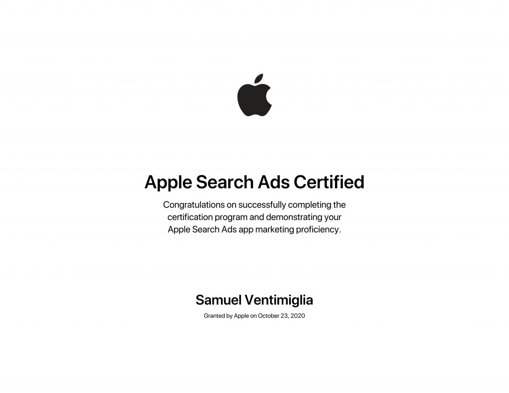 Apple search ads certification